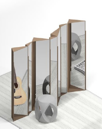 Cubist mirror screen by WOHAbeing and WeWood.