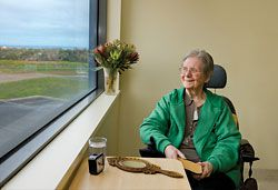 A patient at the bay window. Image: Dianna Snape