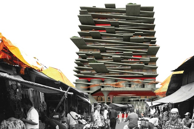 Vertical informal settlement and waste recycling centre, Jakarta, Indonesia.