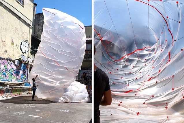 Andrew Southwood-Jones and Alexander Kashin in collaboration with Lenny Gash, <em>Beast</em> (2012), inflated PVC sheeting with transformable joints.