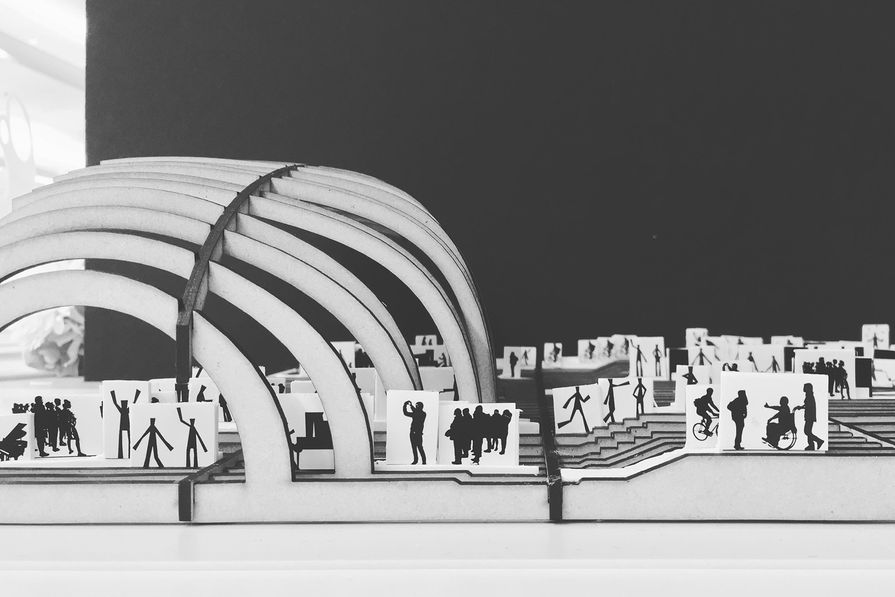 """A section model showing proposed events and activities in the """"Theatre Village"""" section of the site."""