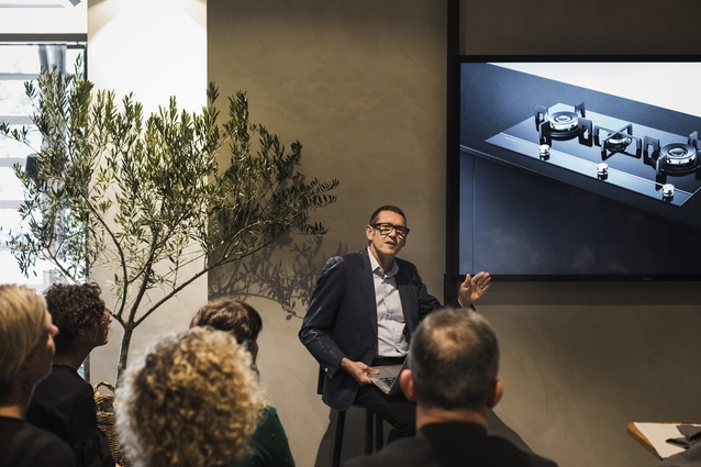 Mark Elmore, general manager of design for Fisher & Paykel, addresses the attendees of the Future Design Workshop.