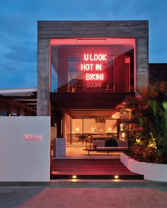 Bikini, occupying a busy corner of Seminyak, has a neon sign that captures the attentions of passers-by and encourages them into the venue.