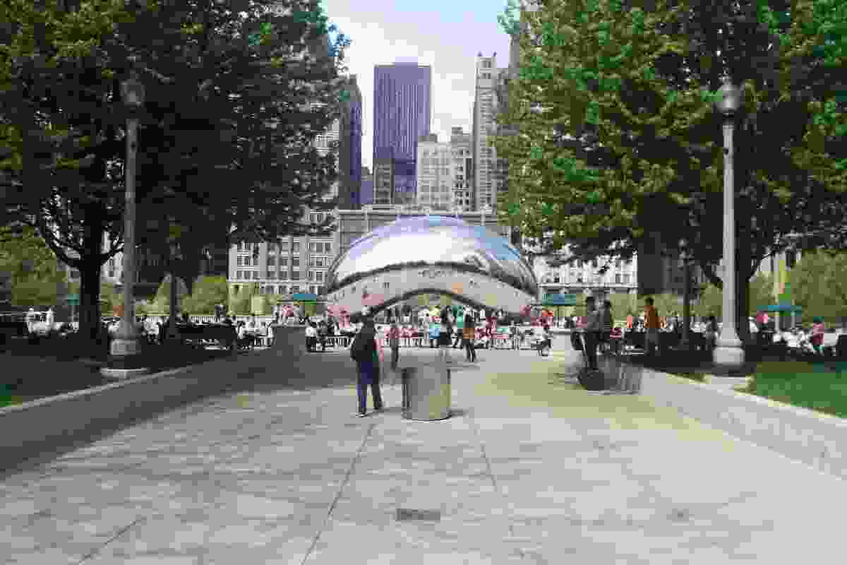 Anish Kapoor's Cloud Gate sculpture — the centrepiece of AT&T; Plaza at Millennium Park in Chicago.