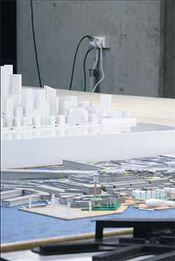 Detail of some of the East Darling Harbour competition models. Image: Brett Boardman