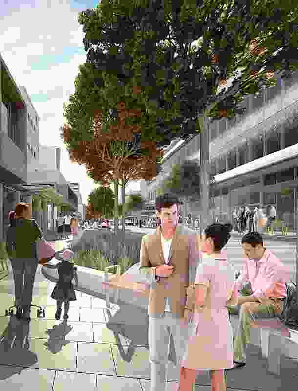 Aspect Studios' city street project in central Dandenong, Victoria will be a one-way vehicle street, where parking and vehicle use is low and pedestrians and cyclists can move in all directions.