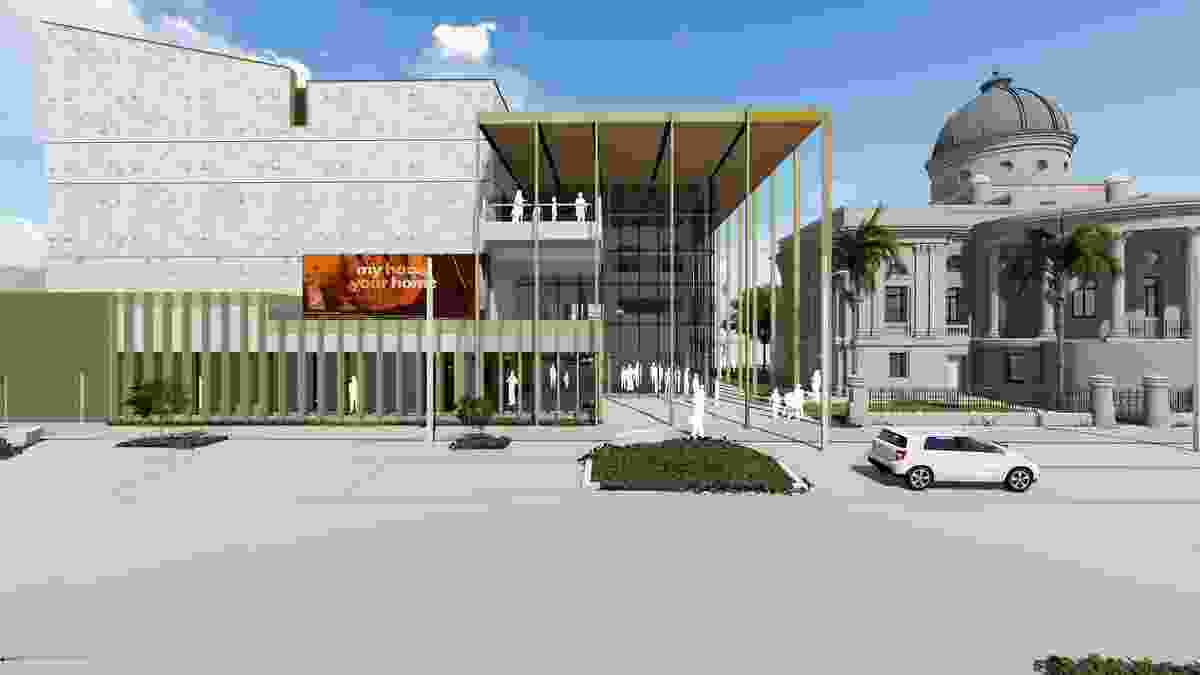 The proposed Rockhampton Art Gallery by Clare Design, Conrad Gargett and Brian Hooper Architecture. The heritage-listed Customs House can be seen to the right of the image.
