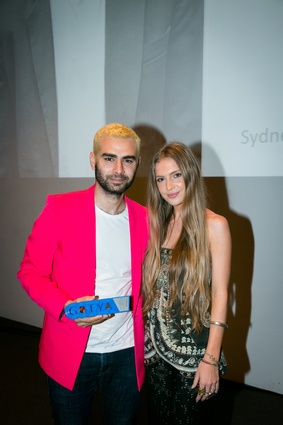 2015 NSW/ACT GOTYA overall winner Yousef Akbar with the Fashion Design judge Jenna Redfern from Camilla.