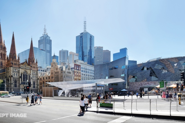 The design for Town Hall station, Federation Square entrance, by Hassell, Weston Williamson and Rogers Stirk Harbour and Partners.