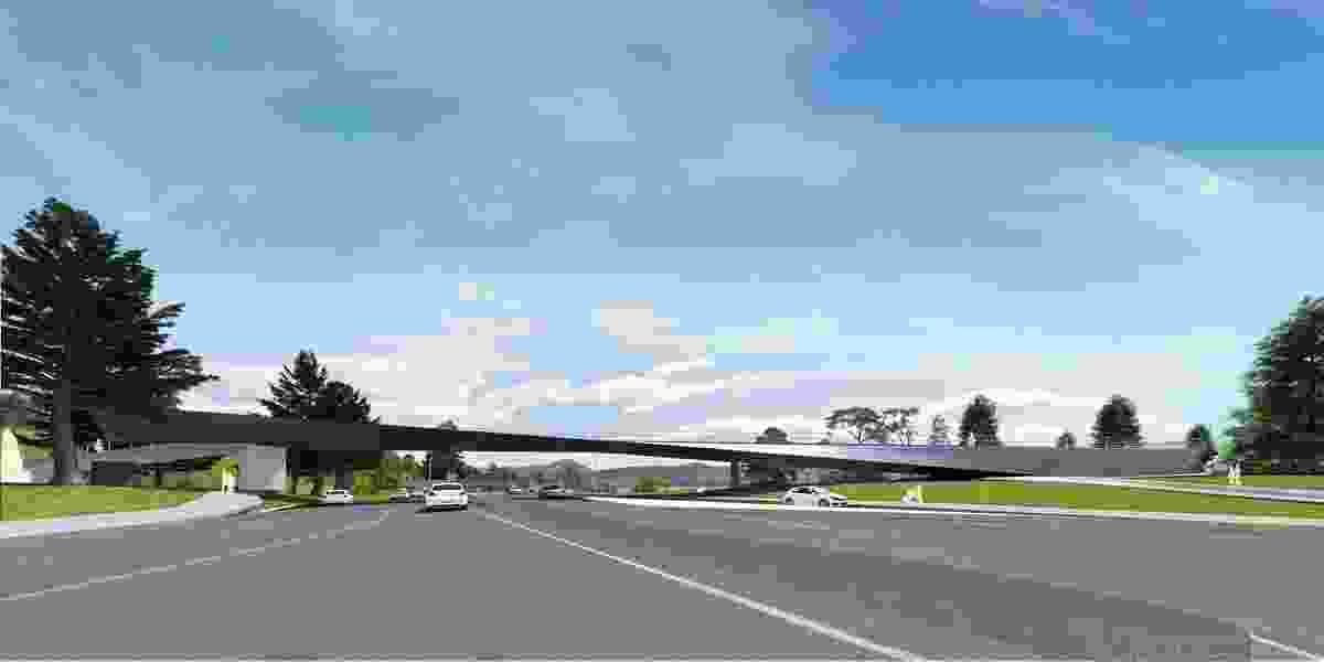 The proposed Tasman Highway Memorial Bridge by Denton Corker Marshall is characterized by two twisting planes.