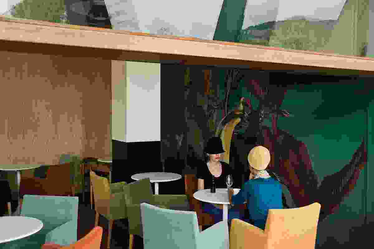 Kalavrita Cafe (2009) is situated in a town of the same name in a mountainous part of Greece. the interior palette mimics the colours of the natural setting.