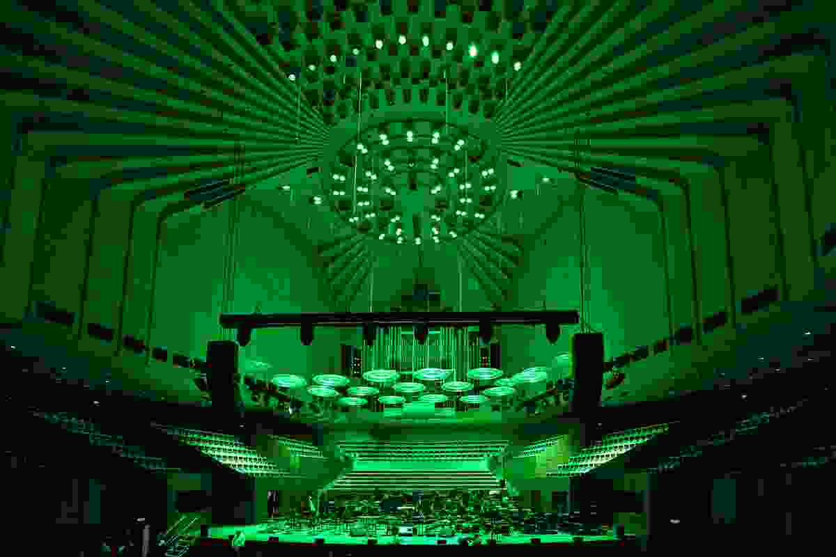The Sydney Opera House was awash with green for its Green Star announcement.