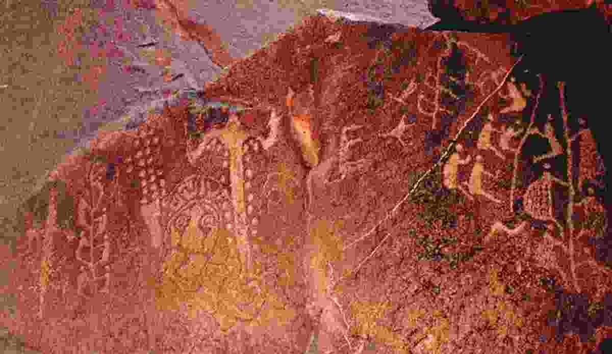 Ancient Aboriginal rock art found amongst thousands of drawings and carvings near the Burrup Peninsula in Western Australia.