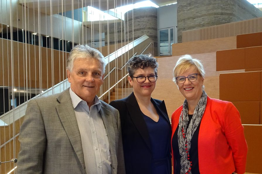 Meaghan Dwyer, project director – architecture, with Ian Mitchell and Anne Mennen of the Victorian Heart Hospital.