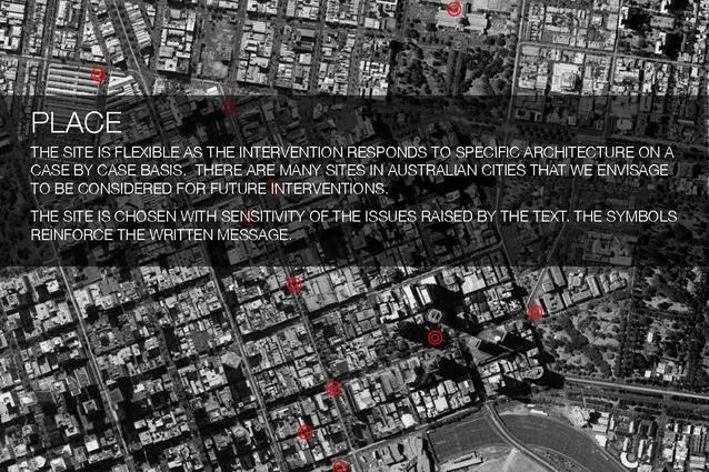 Confronting Boundaries intervention sites around Melbourne.