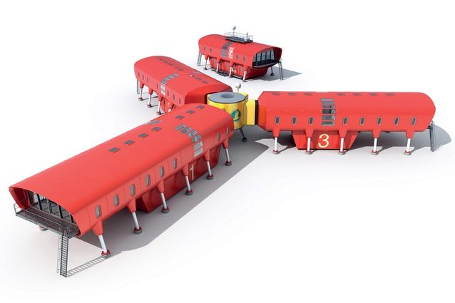 Hugh Broughton Architects' rendering for the Juan Carlos 1 Antarctic Research Base. The science building is a separate structure far enough away to provide a refuge in case of a major fire within the habitat. The base comprises modular fibre-reinforced plastic monocoque rings supported on legs, with ancillary space suspended below.