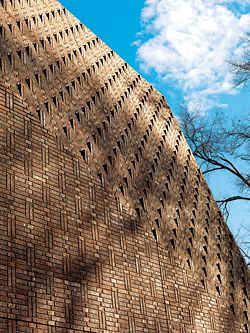"Detail of the ""book bond"" brick facade."