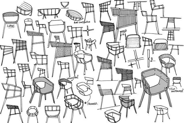 Hubert's sketches for the maritime chair.