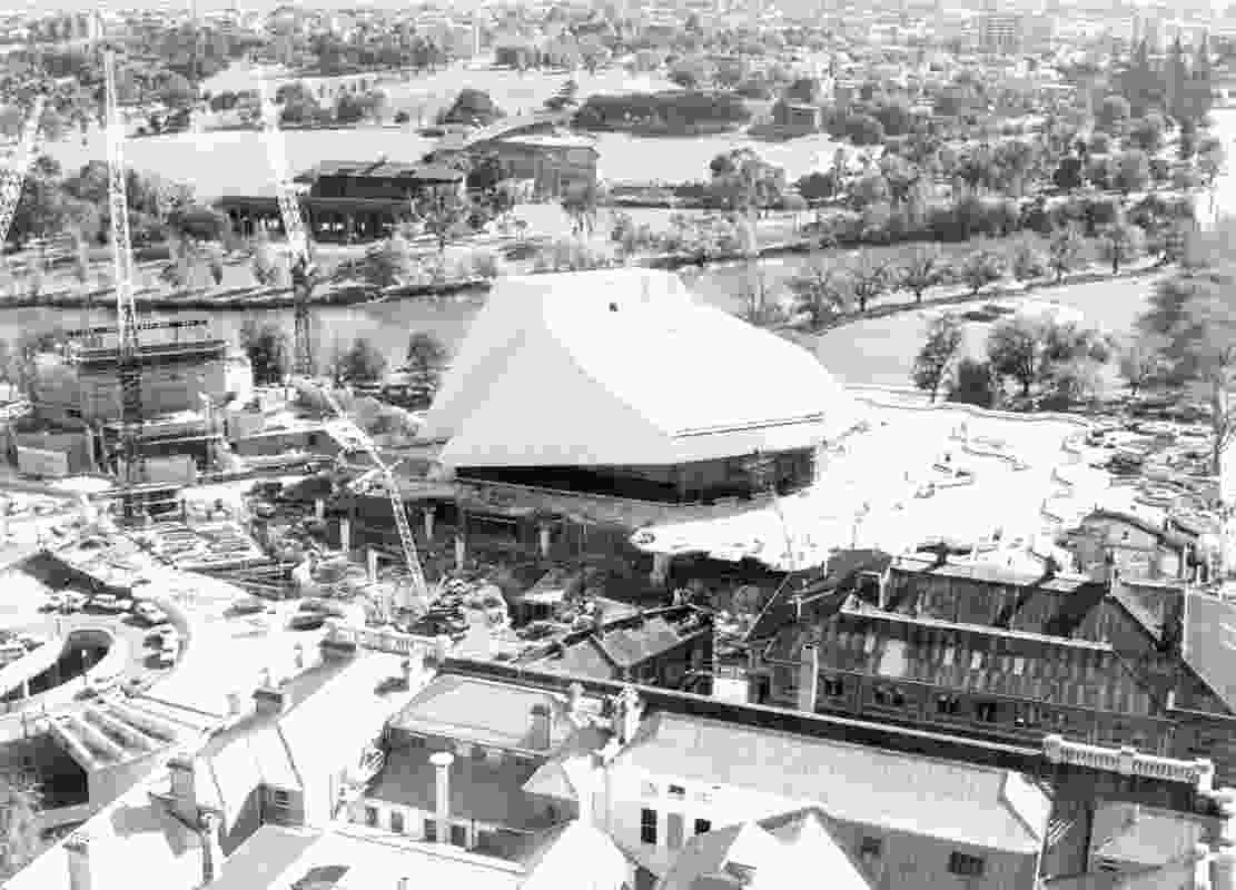 Adelaide Festival Centre under construction.