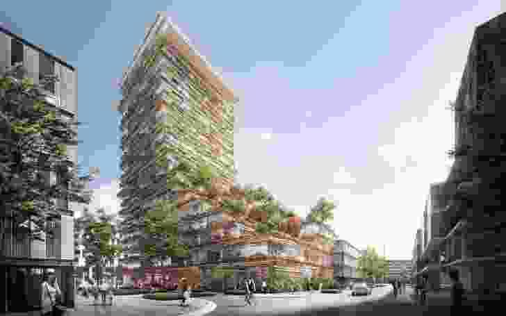 The 20-storey tower at O'Dea Avenue designed by Kengo Kuma and Koichi Takada Architects.