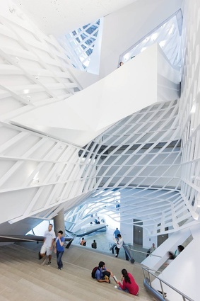 The striking staircase at the Cooper Union, 41 Cooper Square.