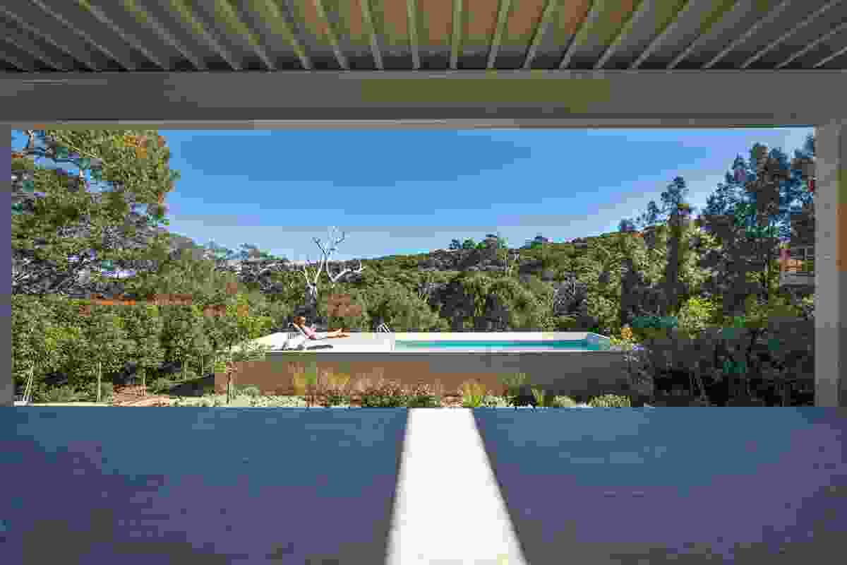 Framed views of the sky and angophora forest to the west.