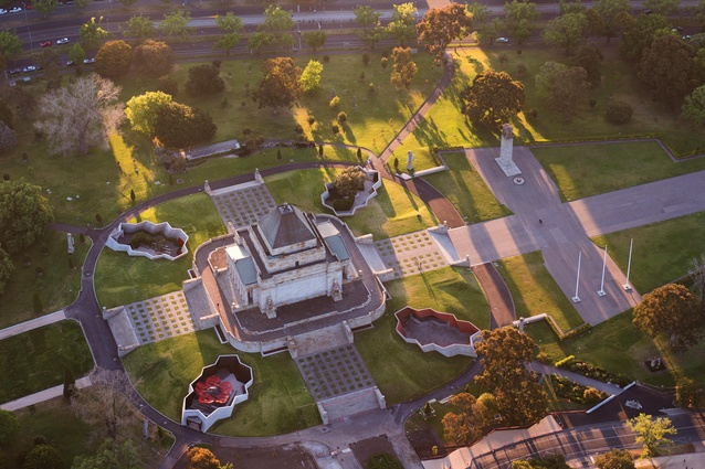 Of the four sunken courtyards at the Shrine of Remembrance, only two contain planting.