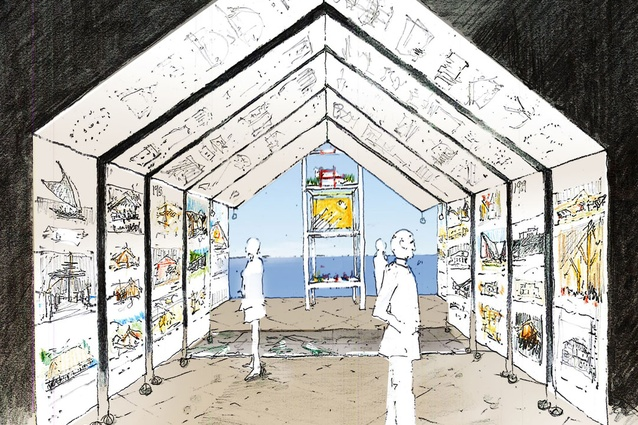 A concept sketch for the New Zealand Exhibition at the 14th Venice Architecture Biennale by Julie Stout, 2014.