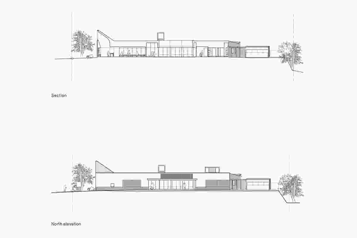Section and elevation of North Lakes Veterinary Hospital by Vokes and Peters.