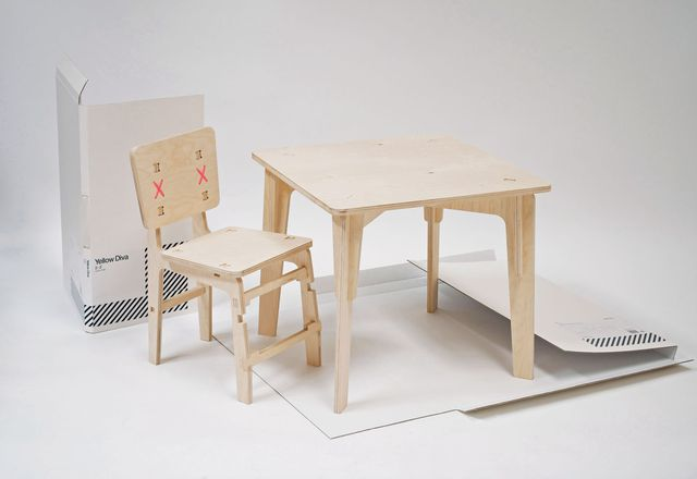 Yellow Diva flat pack 2–3 furniture range.