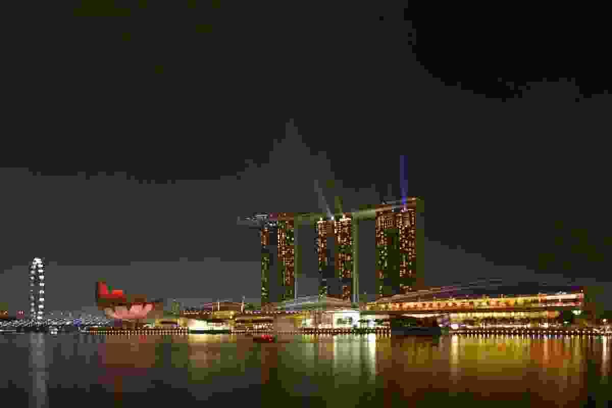 WAF 2013 venue, Marina Bay Sands putting on a light show.
