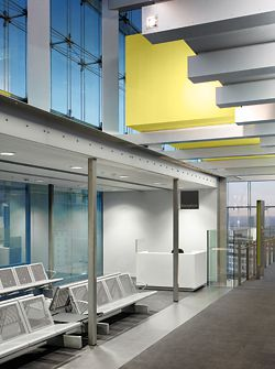 Consultation and meeting rooms are suspended within the atrium. Photographer Daniel Hopkinson.