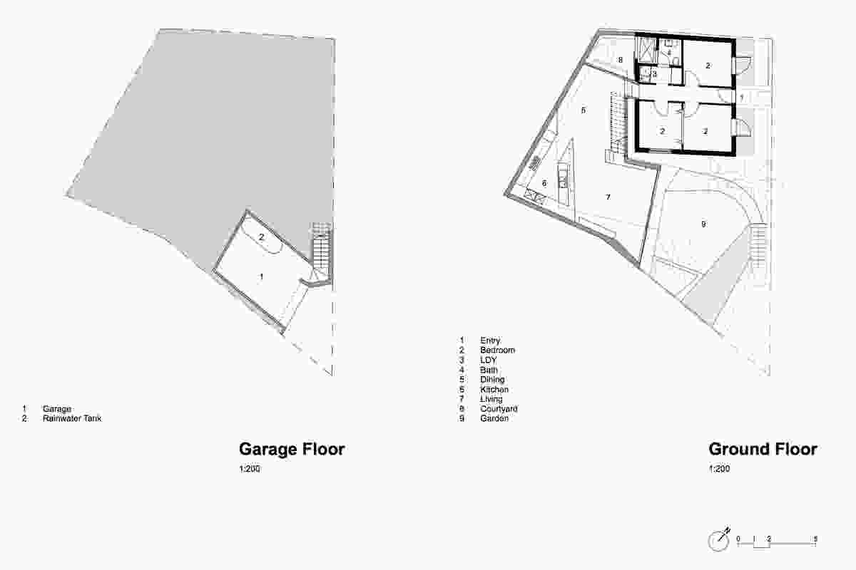 SIte plan: retained existing cottage outlined in black.