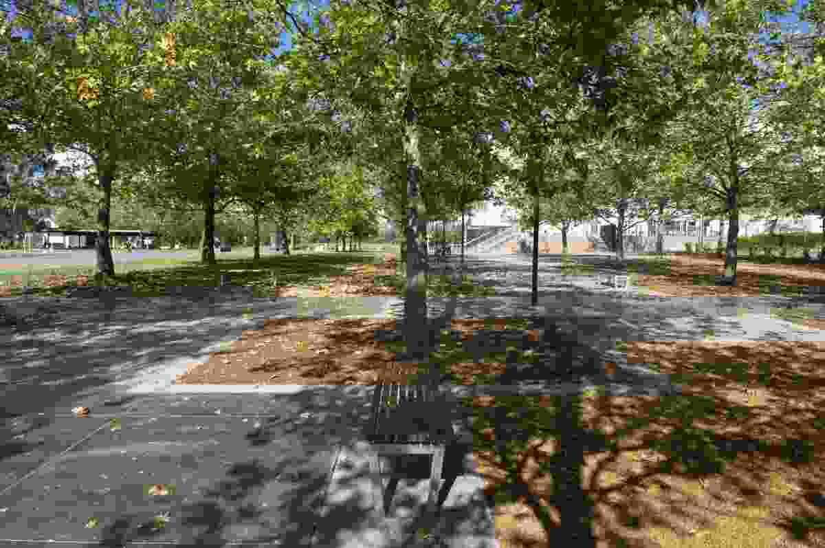 Shaded seating area in new Questacon forecourt. Surface treatments define areas for future Questacon exhibits.