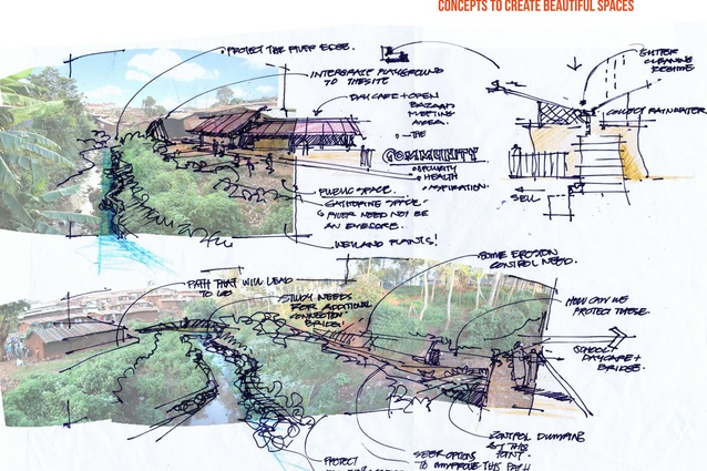 A concept sketch of ideas for Kibera Public Space Project 03.
