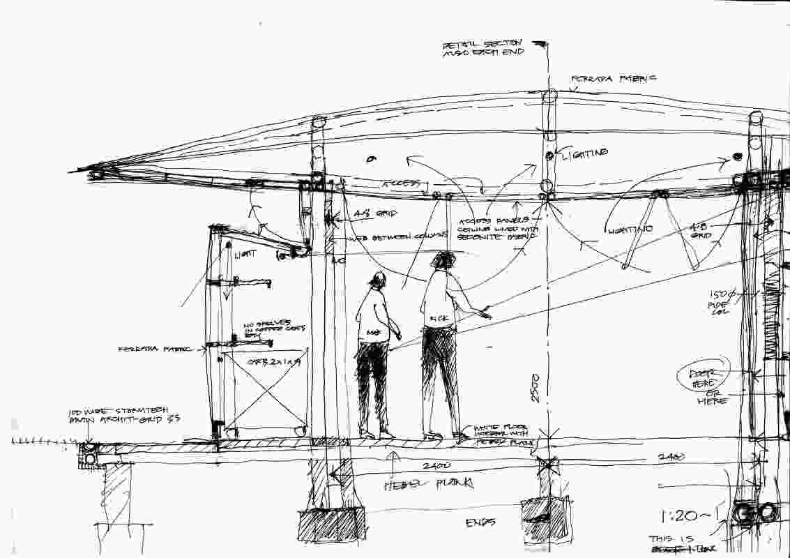 A sketch of the 2019 MPavilion by Glenn Murcutt.