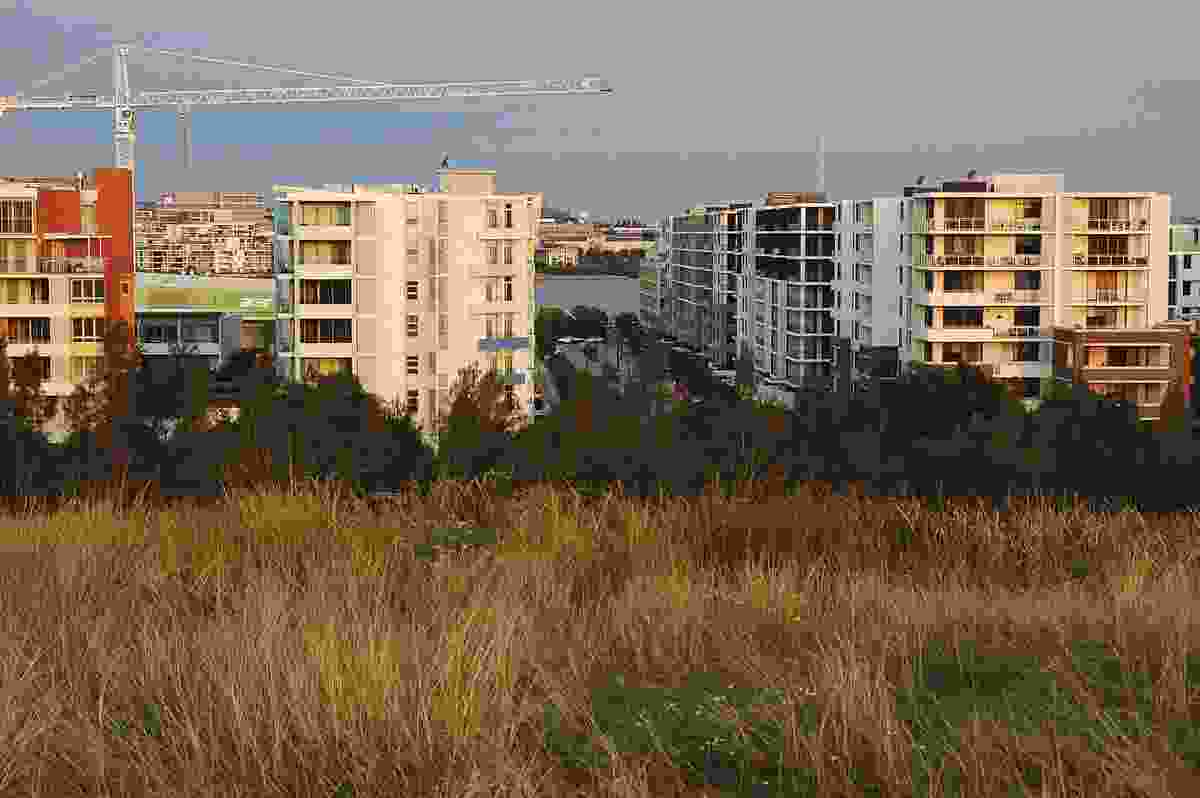 View of the block housing from one of the artificial hills.