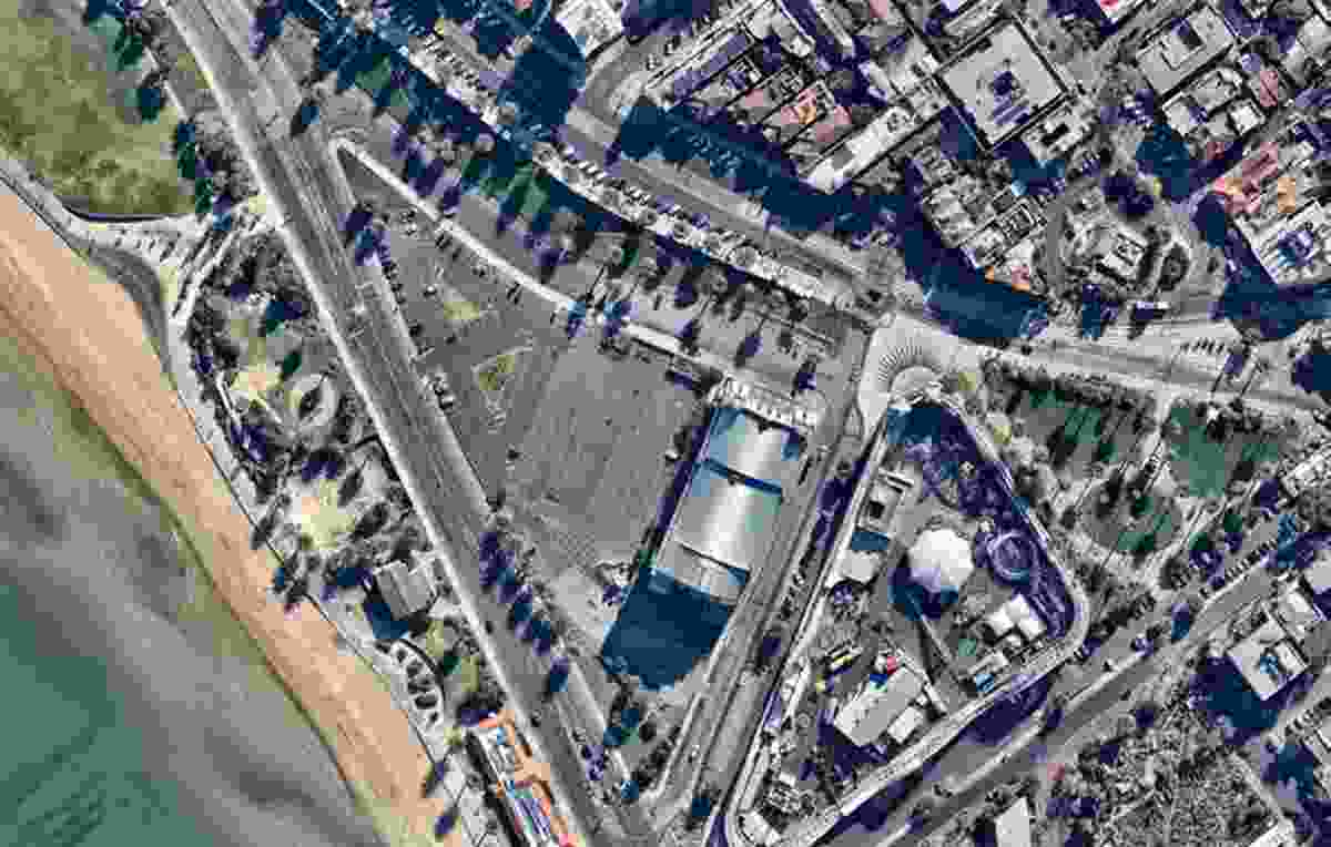 A bird's-eye view of the triangular site in the beachside suburb of St Kilda, from 2015.
