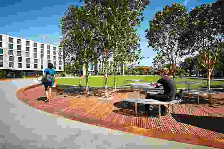 Designed by TCL, the Eastern Precinct Landscape at Monash University's Clayton campus provides flexible open space for on-campus activities