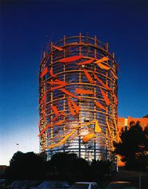 The surface of the thermal storage tank indexes the time of day and light conditions.