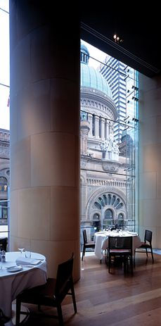 Looking to the Queen Victoria Building from the interior of the first-floor bar at the Hilton Hotel Sydney. Johnson Pilton Walker, 2005. Photograph Richard Glover.