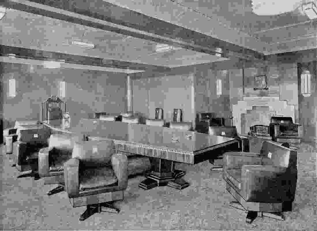 A historic photograph of the boardroom, used to recreate the interior.