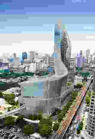 The proposal for Central Embassy in Bangkok, a retail podium and hotel tower clad in extruded aluminium tiles.