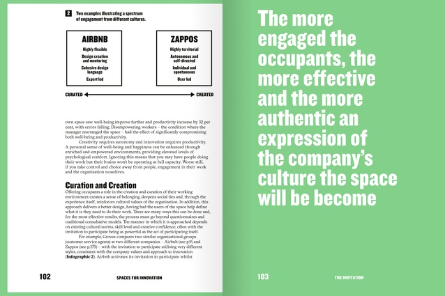 Spread from <i>Spaces for Innovation</i>, showing Infographic 2: Two examples illustrating a spectrum of engagement from different cultures.