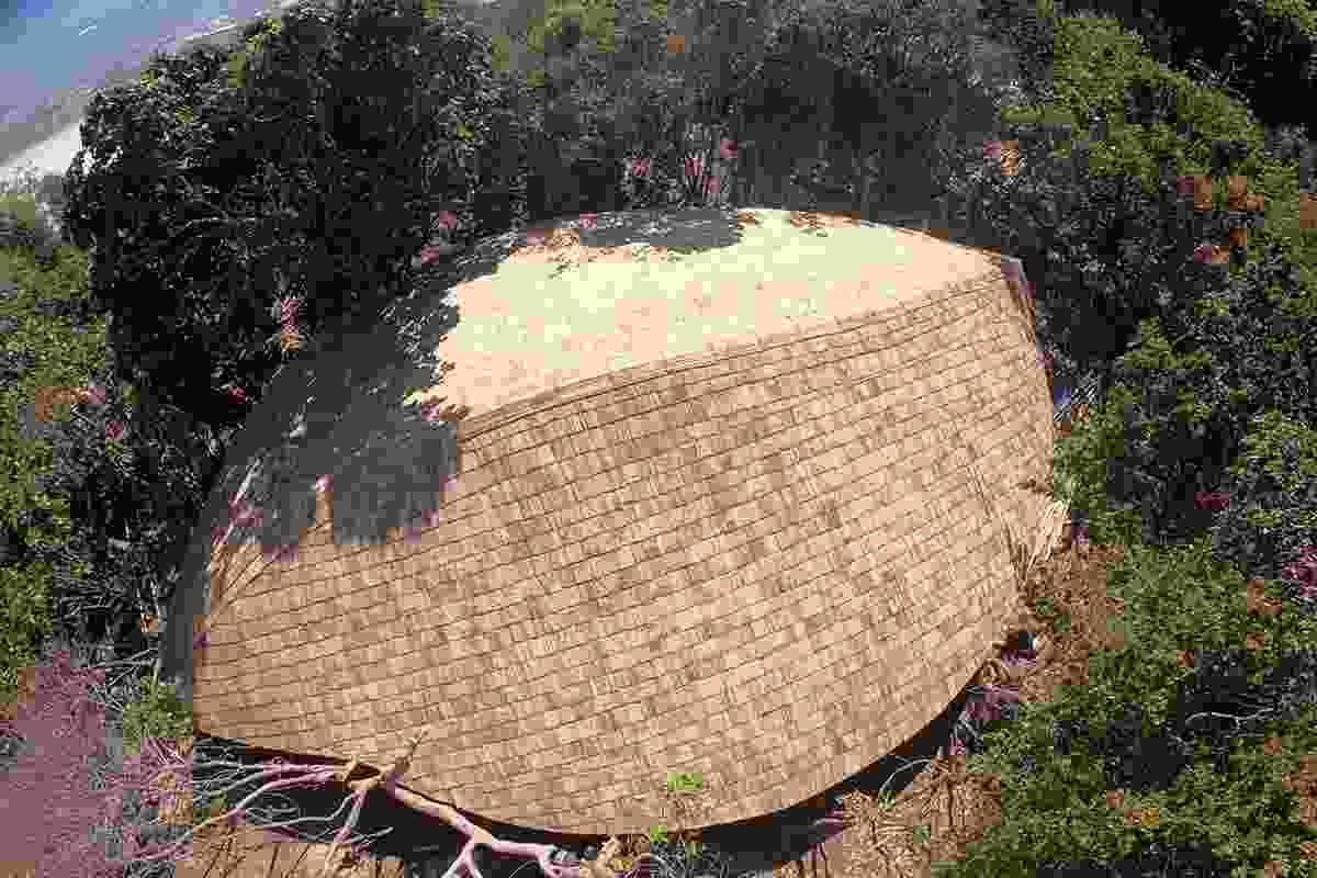 The bamboo shingle roof at Boulder Bay Eco-Resort.