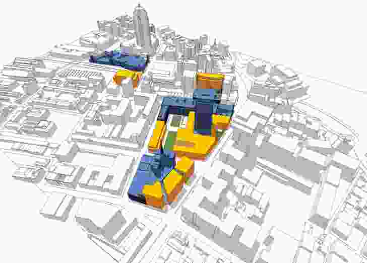A 3D model of the UTS City Campus, showing new facilities and major extensions.