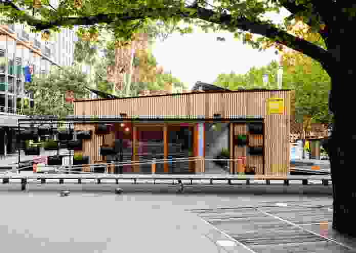 Prefabricated Carbon Positive House by Archiblox installed temporarily in Melbourne's City Square in 2015.