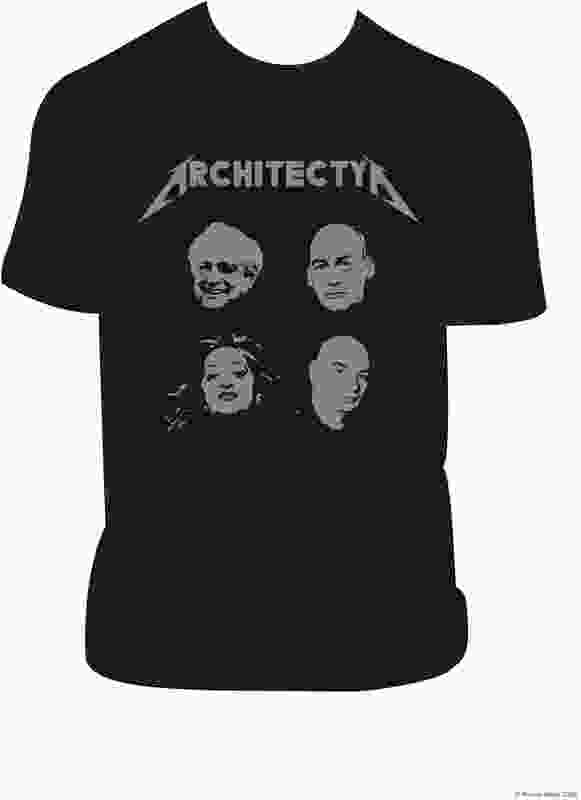 "Architecture – It's not just for Wankers by Marcus White. Zaha Hadid, Frank Gehry, Rem Koolhaas and Jean Nouvel as ""heavy metal rock gods."""