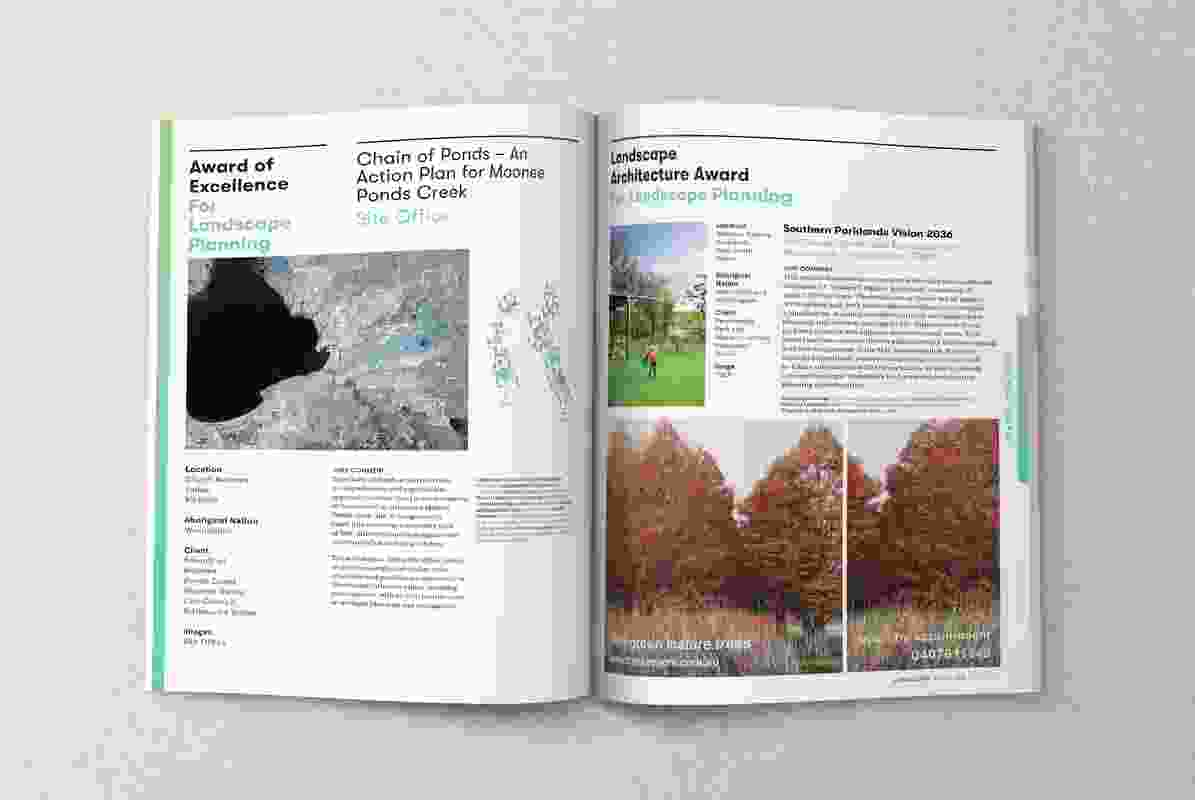 A spread from the November 2018 issue of Landscape Architecture Australia.
