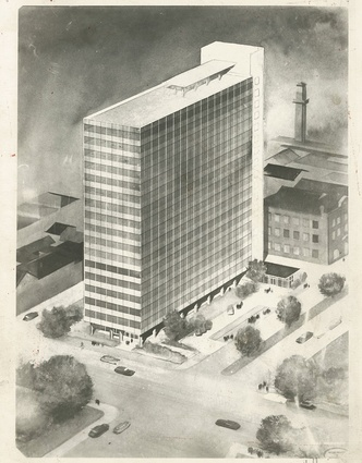 A sketch of ICI House by Bates Smart and McCutcheon.